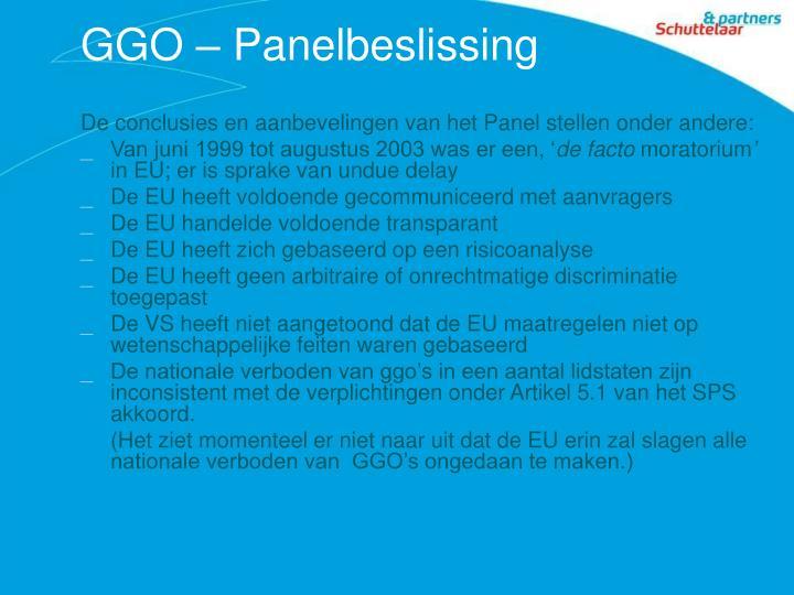 GGO – Panelbeslissing