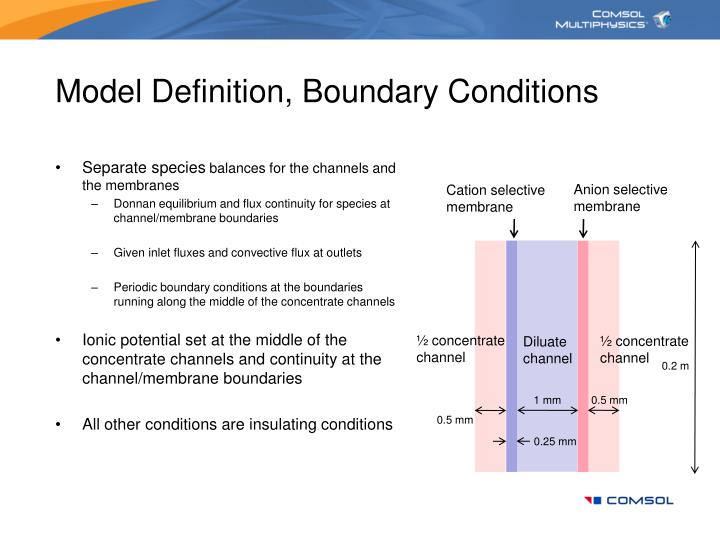 Model Definition, Boundary Conditions