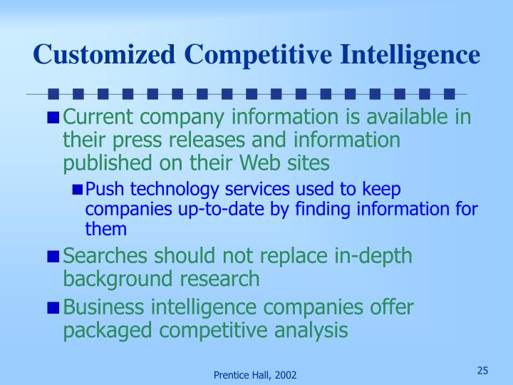 Customized Competitive Intelligence