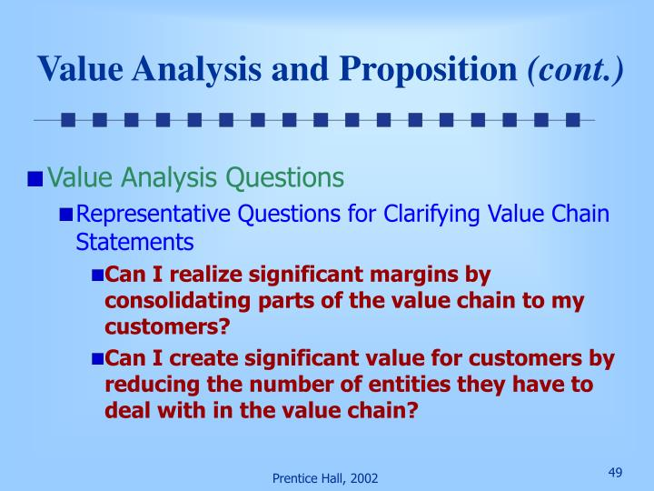 Value Analysis and Proposition