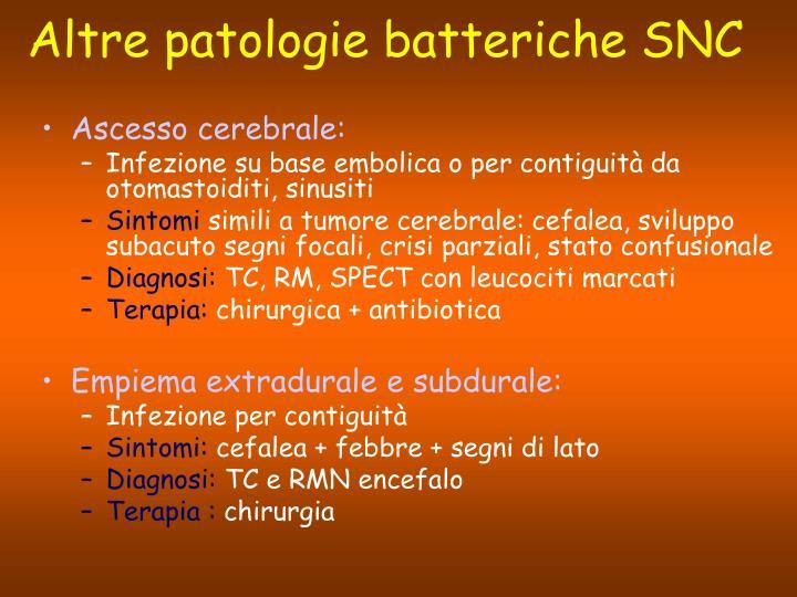 Altre patologie batteriche SNC