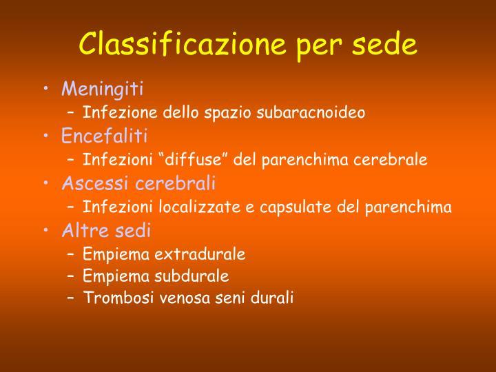 Classificazione per sede