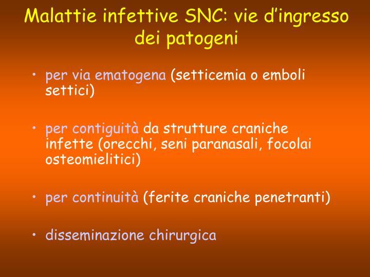 Malattie infettive SNC: vie d'ingresso dei patogeni