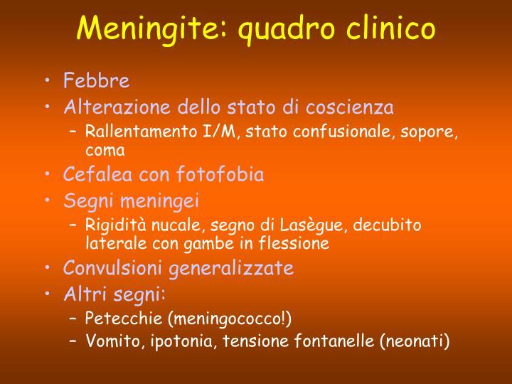 Meningite: quadro clinico