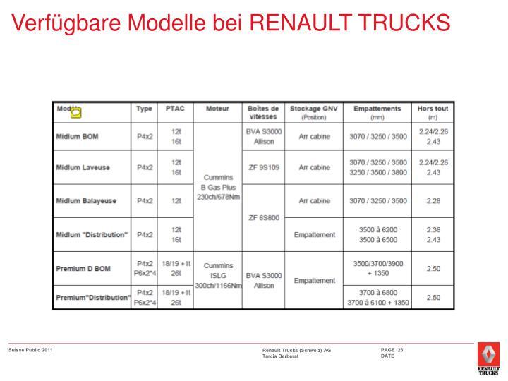 Verfügbare Modelle bei RENAULT TRUCKS