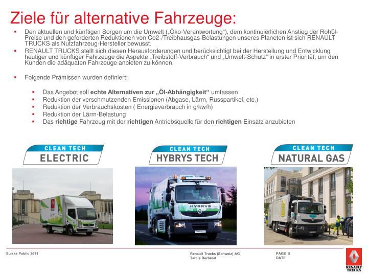 Ziele für alternative Fahrzeuge