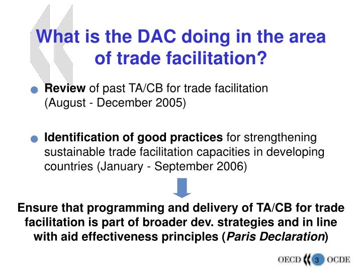 What is the dac doing in the area of trade facilitation