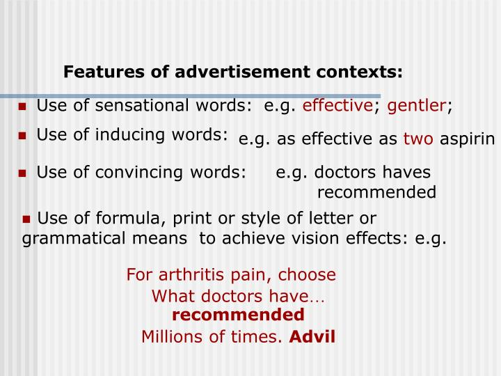 Features of advertisement contexts: