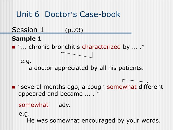 Unit 6 doctor s case book