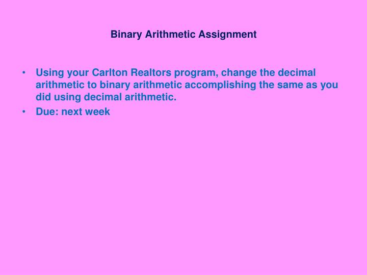 Binary Arithmetic Assignment