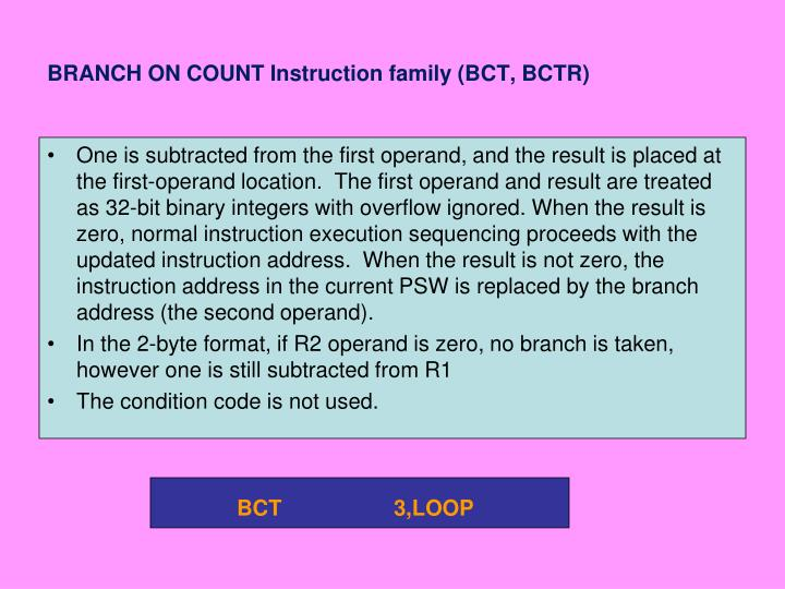 BRANCH ON COUNT Instruction family (BCT, BCTR)