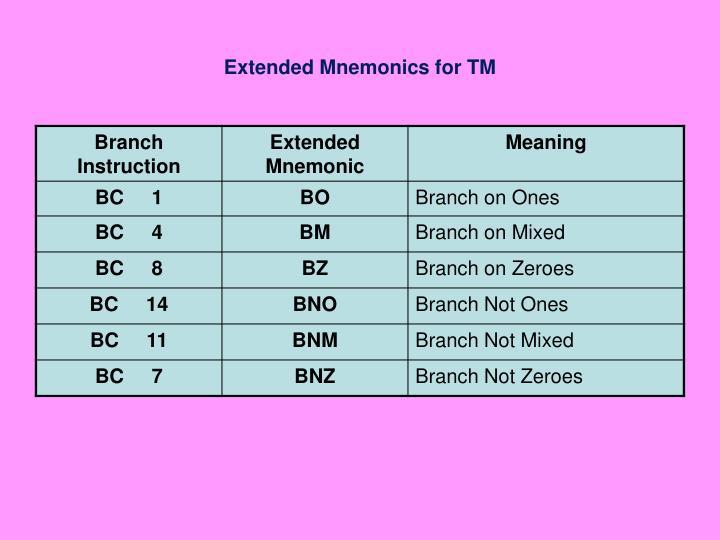 Extended Mnemonics for TM