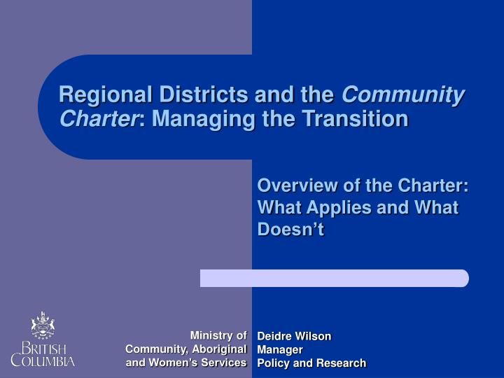 Regional Districts and the