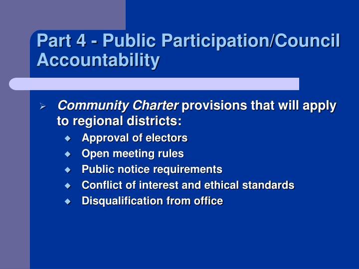 Part 4 - Public Participation/Council Accountability