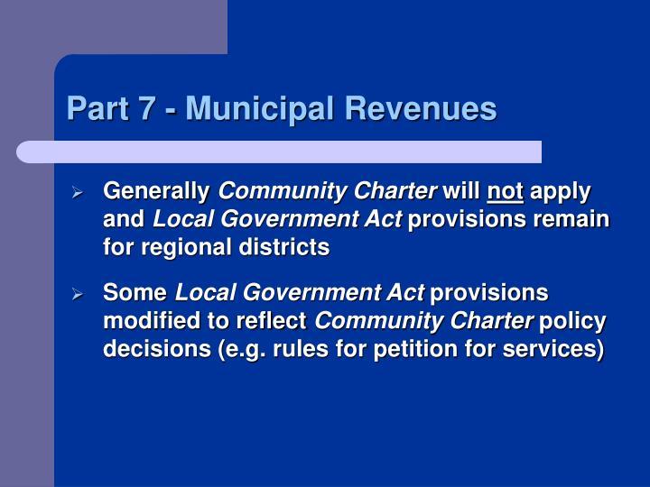 Part 7 - Municipal Revenues