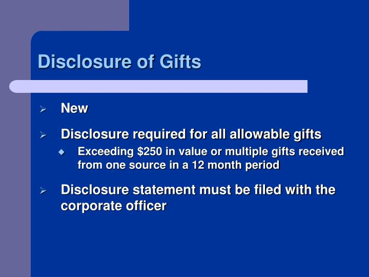 Disclosure of Gifts