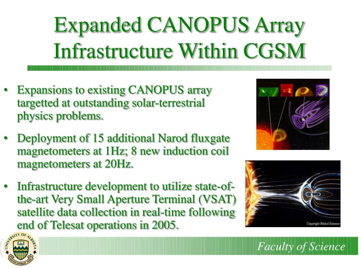 Expanded CANOPUS Array Infrastructure Within CGSM