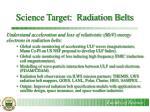 science target radiation belts