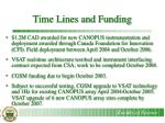 time lines and funding