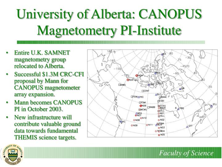 University of Alberta: CANOPUS Magnetometry PI-Institute