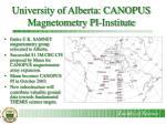 university of alberta canopus magnetometry pi institute