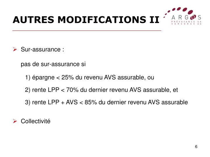 AUTRES MODIFICATIONS II