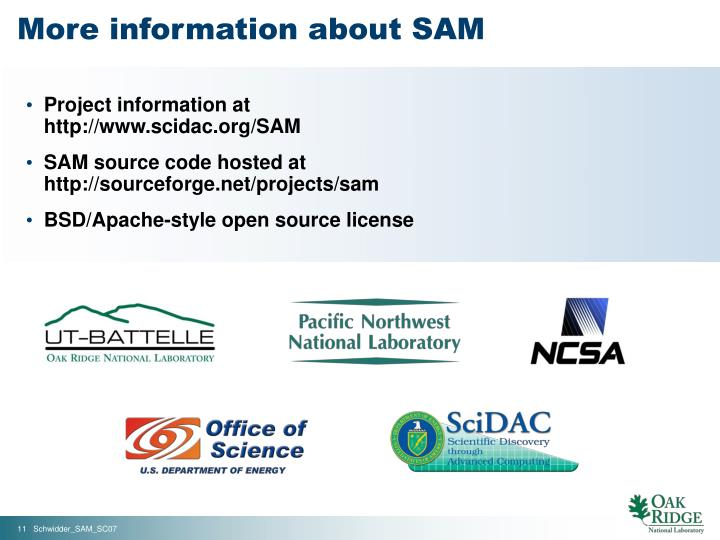 More information about SAM
