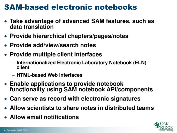 SAM-based electronic notebooks