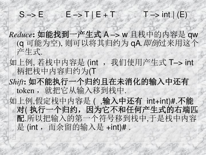 S –> E          E –> T | E + T             T –> int | (E)