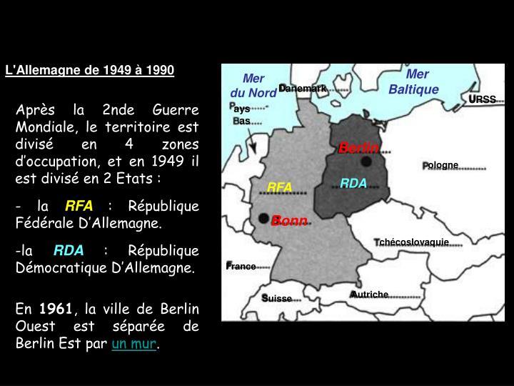 L'Allemagne de 1949 à 1990