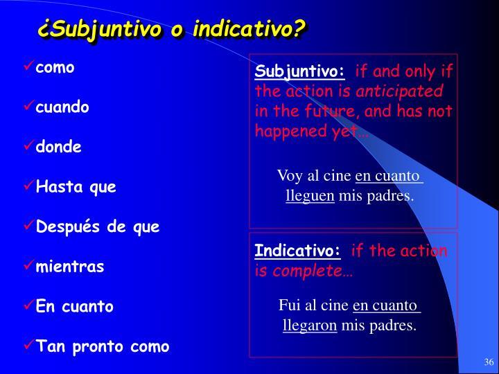 ¿Subjuntivo o indicativo?