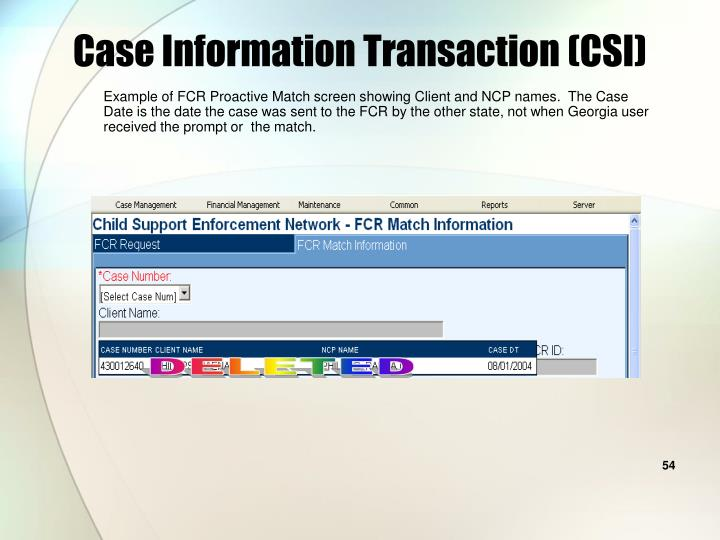 Case Information Transaction (CSI)