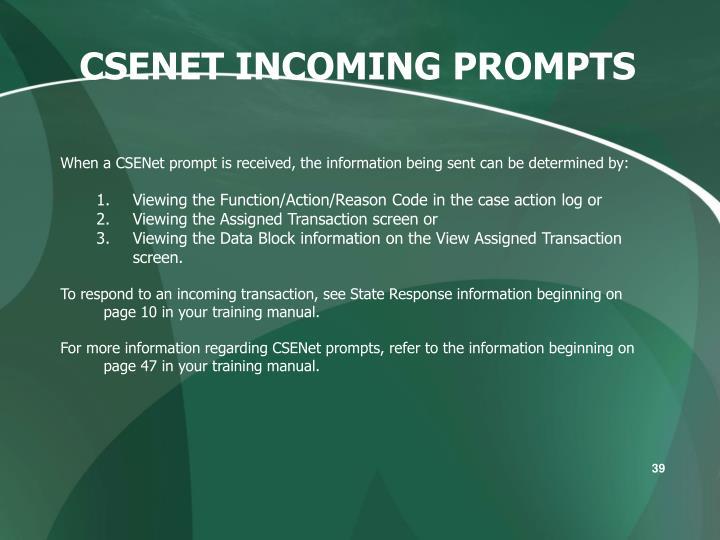 CSENET INCOMING PROMPTS