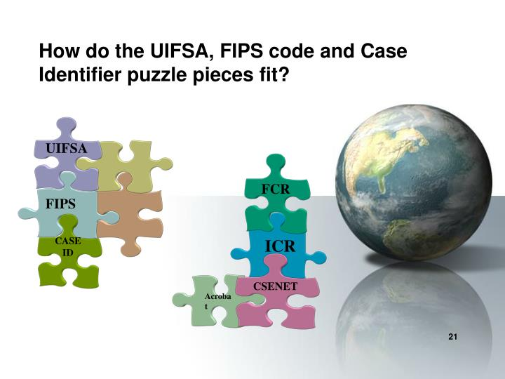 How do the UIFSA, FIPS code and Case Identifier puzzle pieces fit?