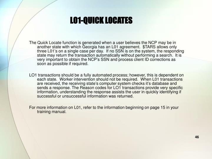 L01-QUICK LOCATES
