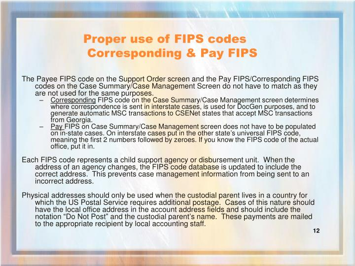 Proper use of FIPS codes