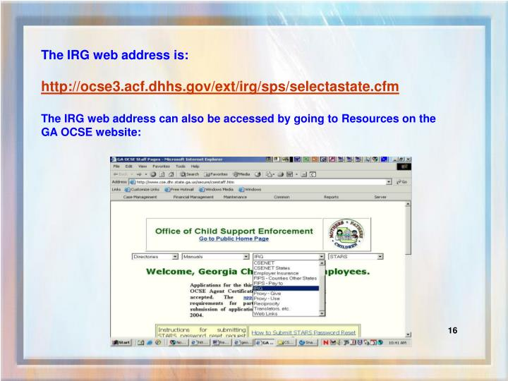 The IRG web address is:
