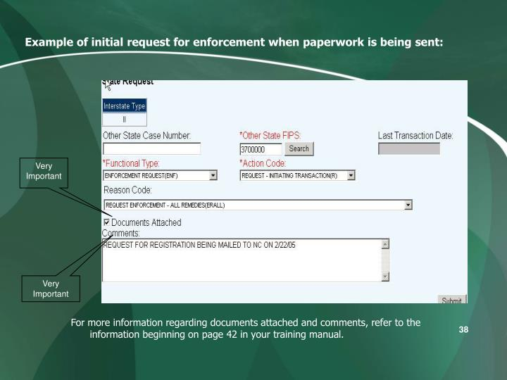 Example of initial request for enforcement when paperwork is being sent: