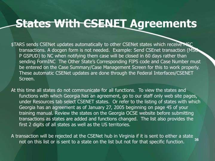 States With CSENET Agreements