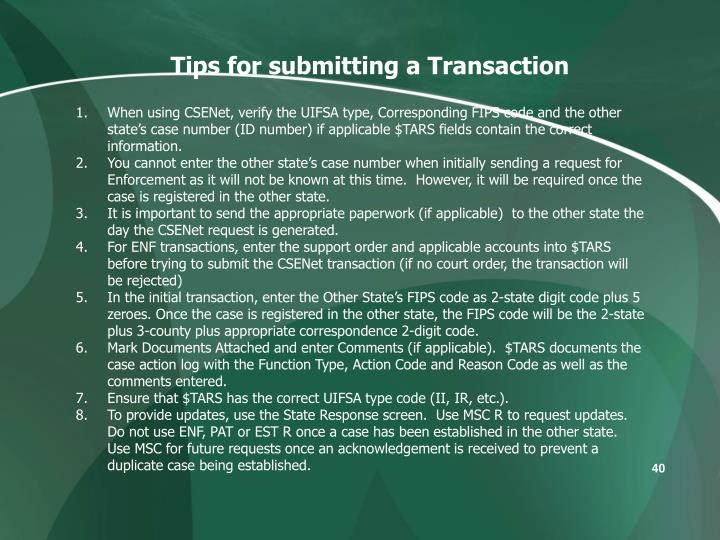 Tips for submitting a Transaction