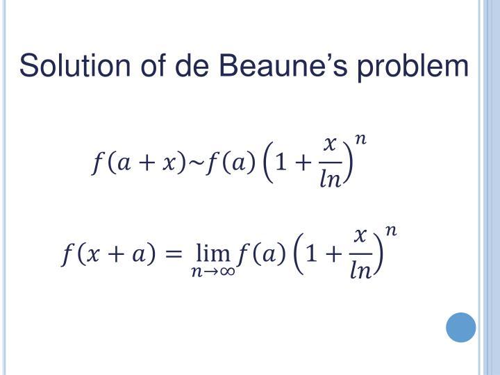 Solution of de