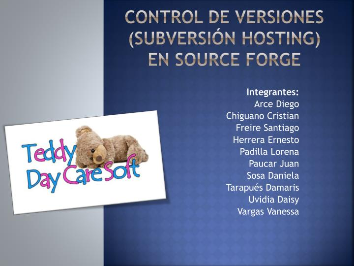 Control de versiones subversi n hosting en source forge