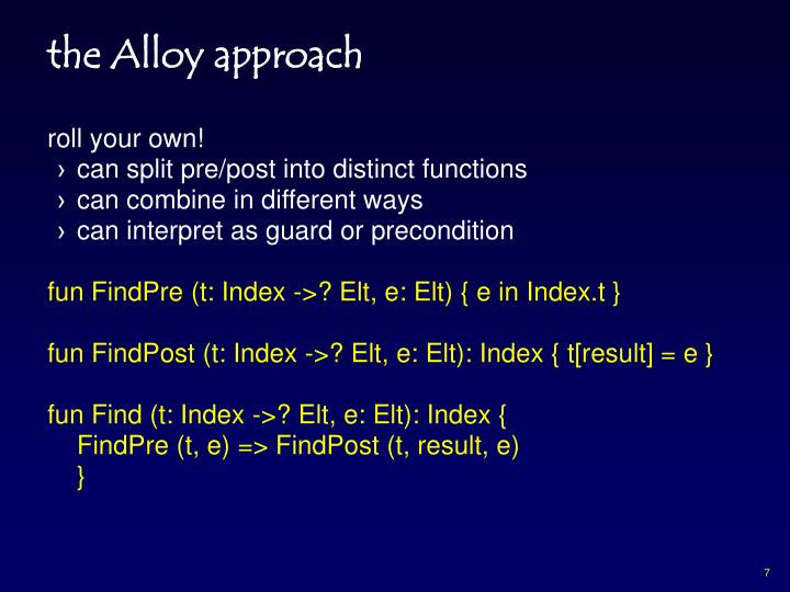 the Alloy approach