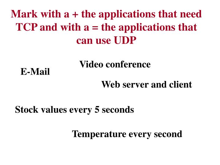 Mark with a + the applications that need TCP and with a = the applications that can use UDP