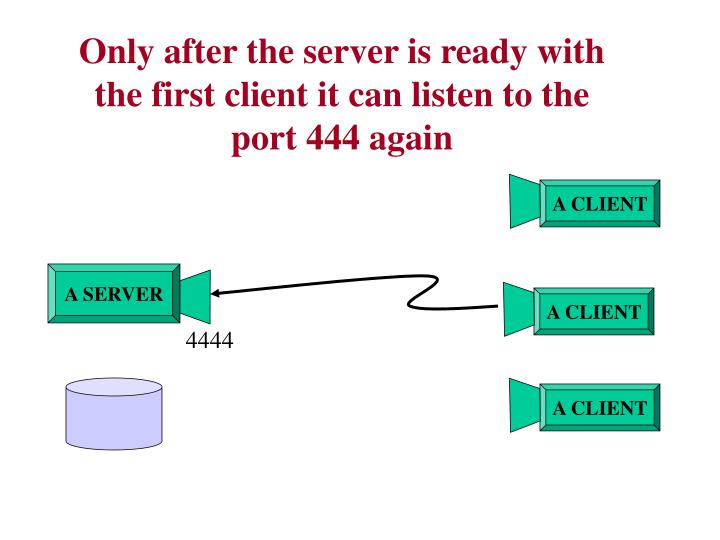 Only after the server is ready with the first client it can listen to the port 444 again