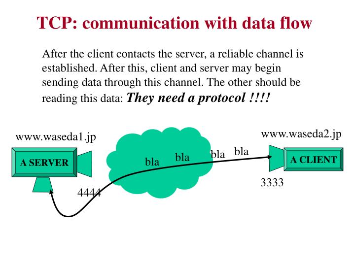 TCP: communication with data flow