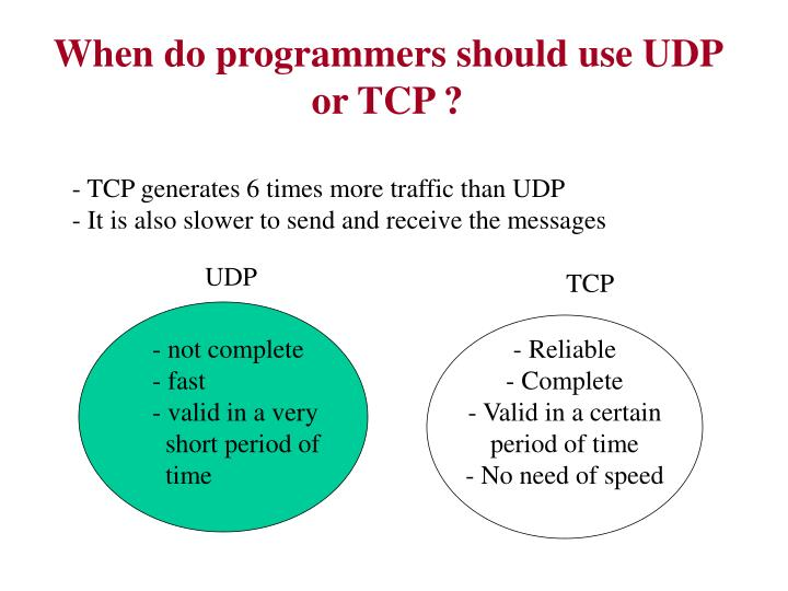 When do programmers should use UDP or TCP ?
