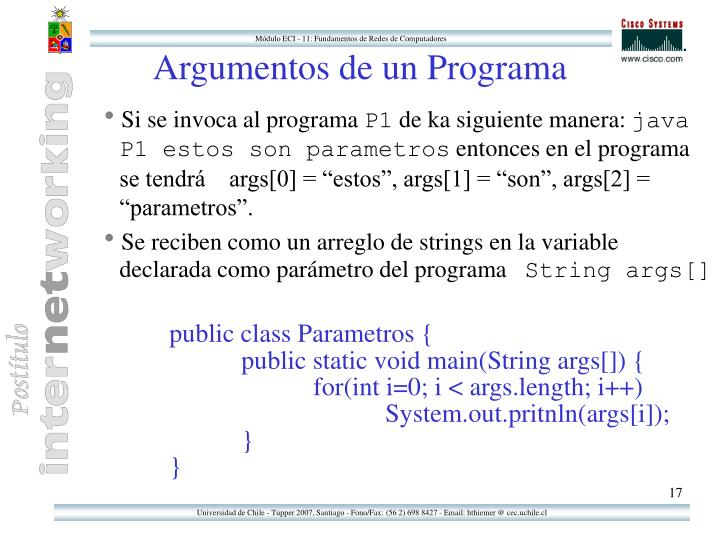Argumentos de un Programa