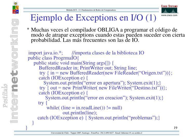 Ejemplo de Exceptions en I/O (1)