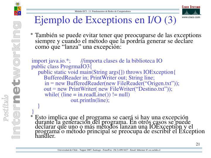Ejemplo de Exceptions en I/O (3)